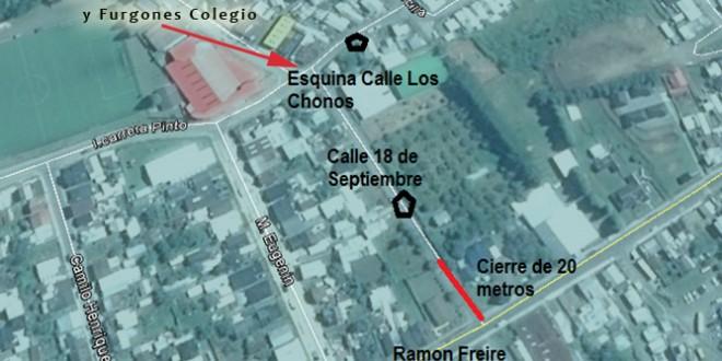Cierre de Calles por Circuito de Aguas Lluvias en Dalcahue