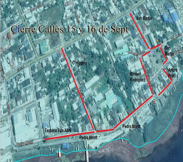Cierre de Calles días 15 y 16 de Septiembre