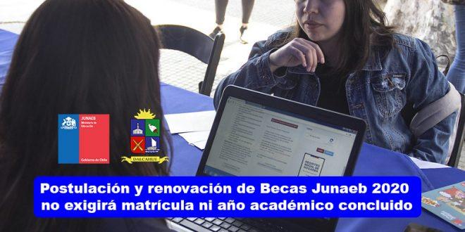 Postulación y renovación de Becas Junaeb 2020 no exigirá matrícula ni año académico concluido