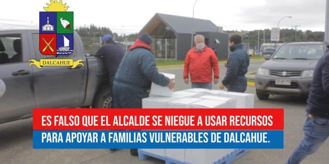 ES FALSO QUE EL ALCALDE SE NIEGUE A USAR RECURSOS PARA APOYAR A FAMILIAS VULNERABLES DE DALCAHUE.